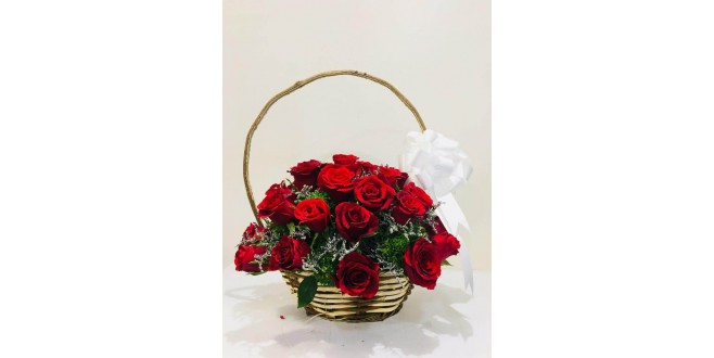 Love in a Basket - 30 Red Roses