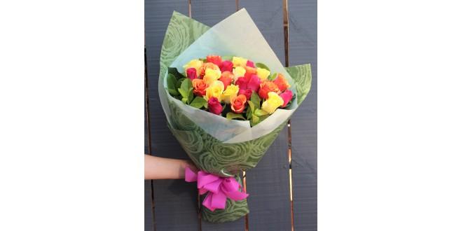 Mix N Match - 30 Premium Multicolor Roses Hand Bouquet