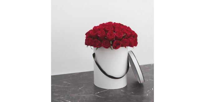 Soulmate - 80 Premium Red Roses White Box Bouquet