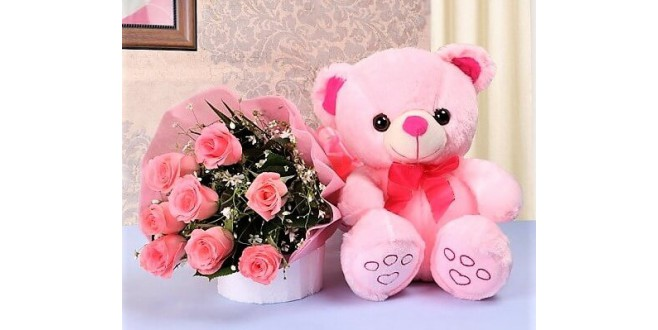 10 Pink Roses with Teddy Bear