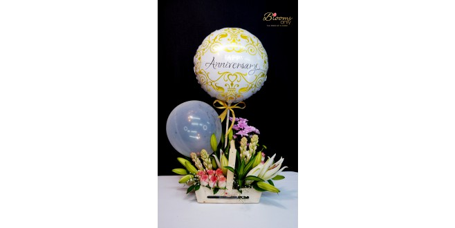 Anniversary Special Mixed Flower Box Bouquet