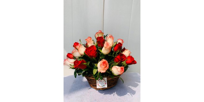 Eternal Loyalty - Bi Colour Roses Basket Bouquet