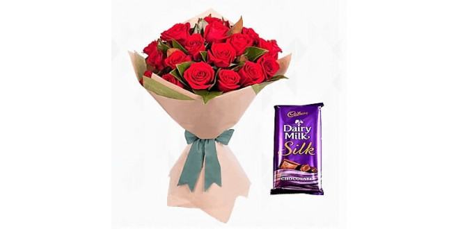 15 Red Roses with Small Silk Chocolate