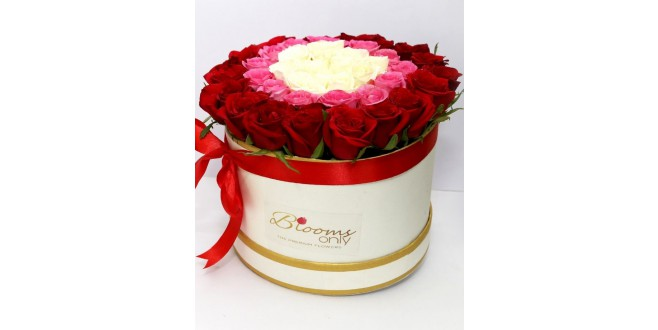 It is About You - White, Pink and Red Roses Premium Bouquet