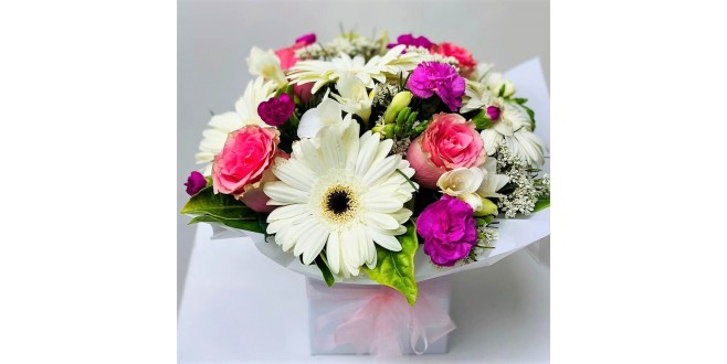 Joyful Bouquet - White Gerbera, Pink Roses and Purple Carnation