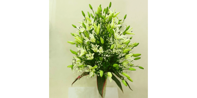 White Asiatic Lilies Arrangement with Vase