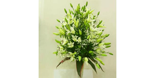 White Asiatic Lilies Arrangement with Vase