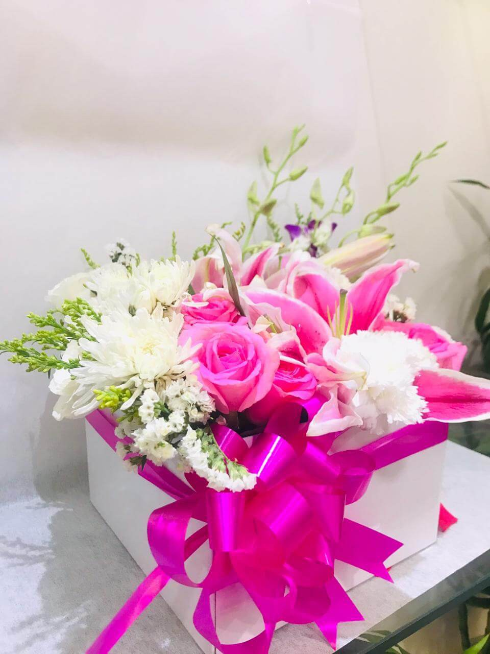 Roses, Lily, Chrysanthemums, Orchids - Cute in Box