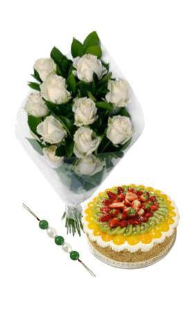 Enigmatic White Roses for Rakhi