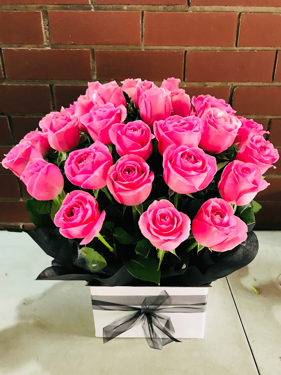 30 Pink Roses Box Bouquet