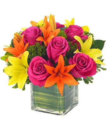 Mix Roses and Lilies Flower Arrangements with A Vase