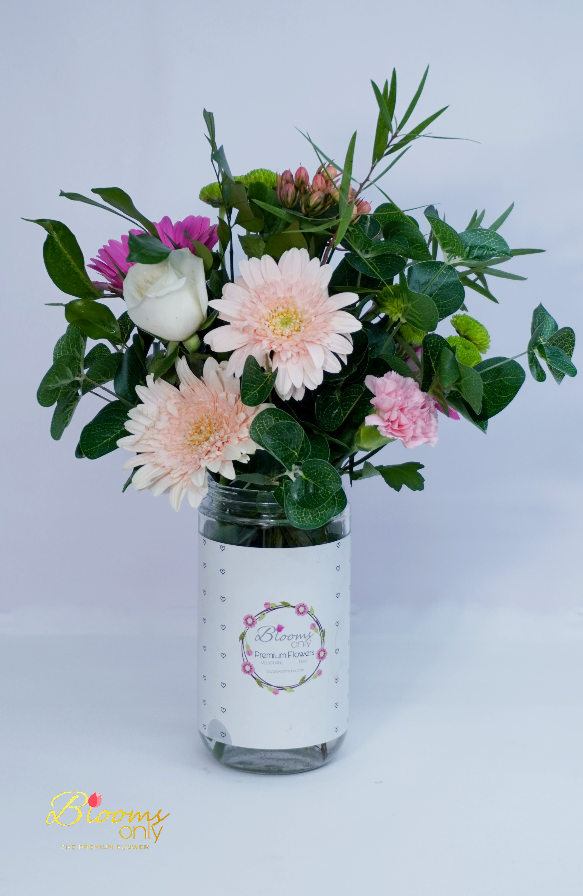 Mixed Flower Vase Bouquet with White Rose