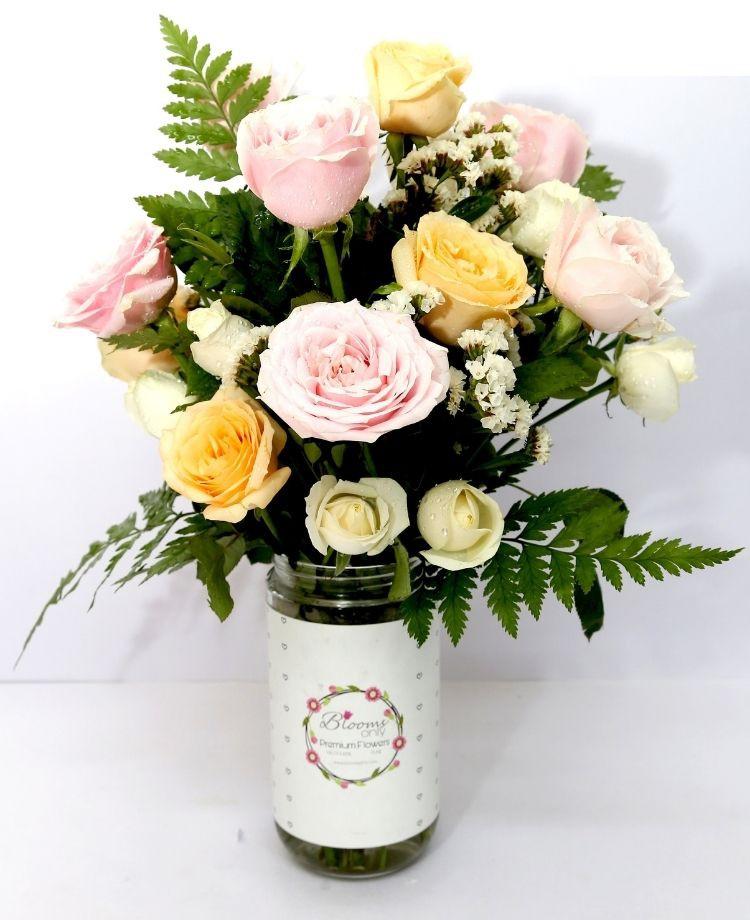 Multi Colour Roses Vase Bouquet