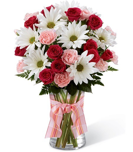 Pink Blooms - Mixed Flower Vase Bouquet