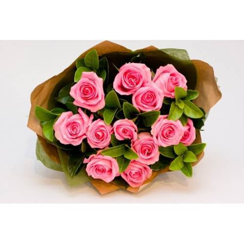 Handmade 25 Pink Roses Bouquet