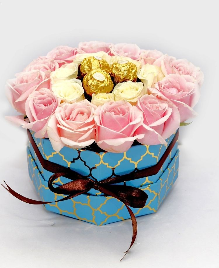 Pinky Love - Pink and Yellow Roses Premium Box Bouquet