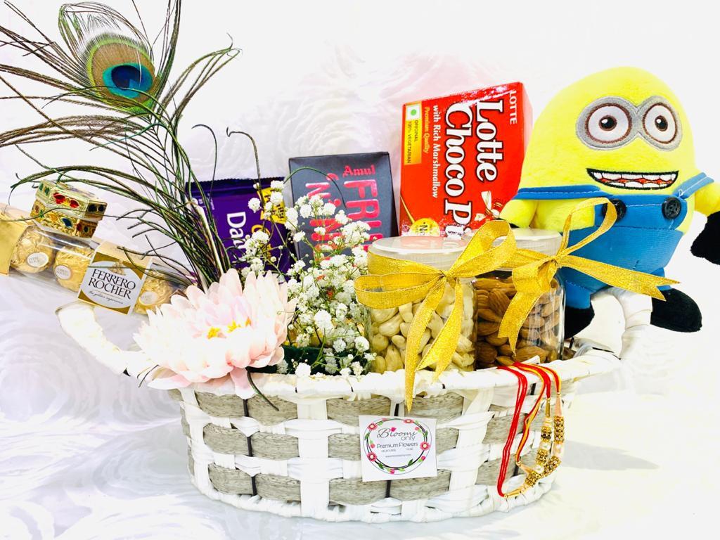 Chocolate Basket with Rakhi and Minion Soft Toy