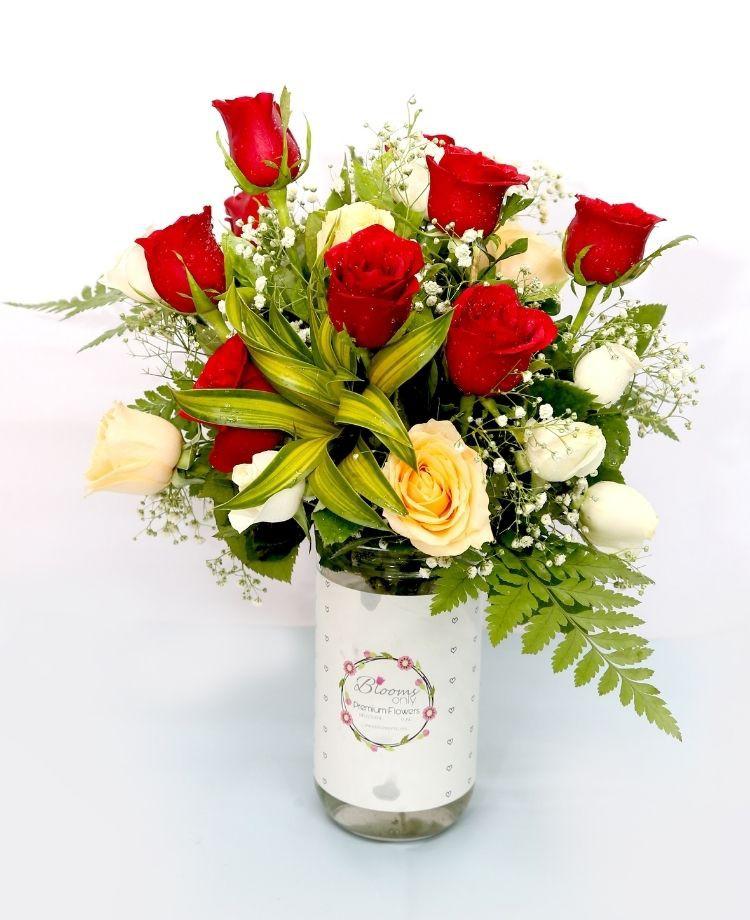 Roses Vase Bouquet - Combo colour