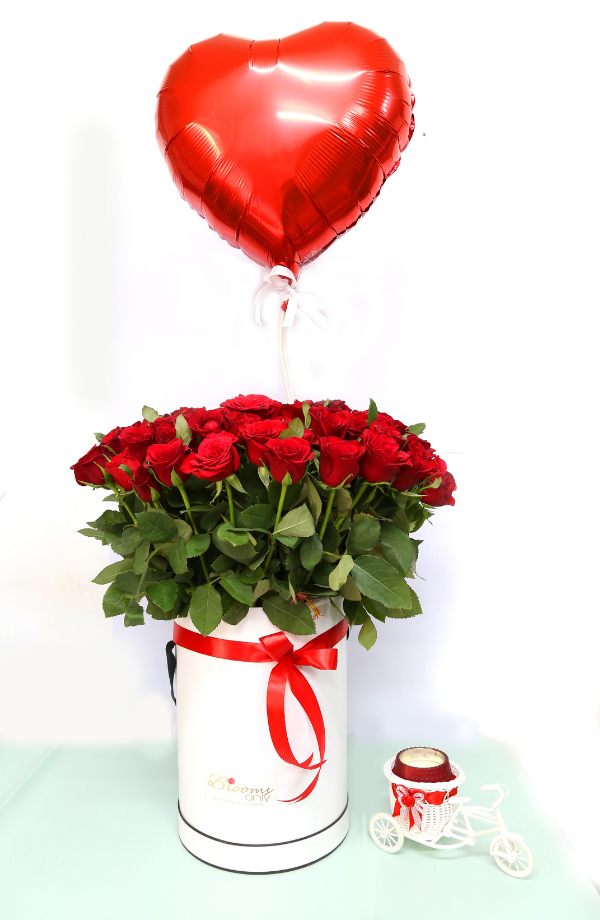 Unchanged - 70 Red Roses White Box Bouquet