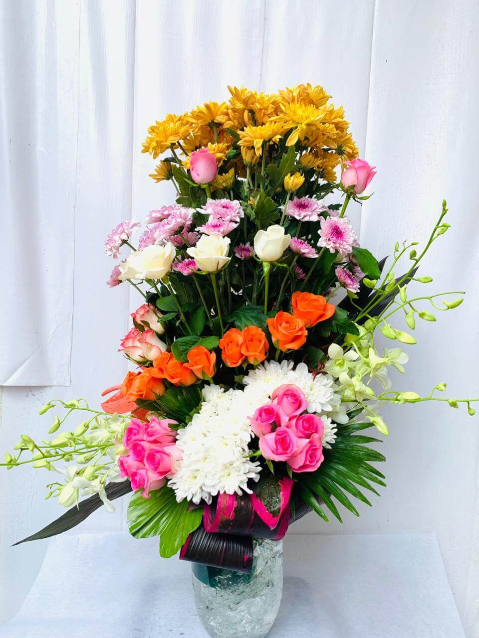 Vase Bouquet Arrangement of Roses, Chrysanthemums, Orchids