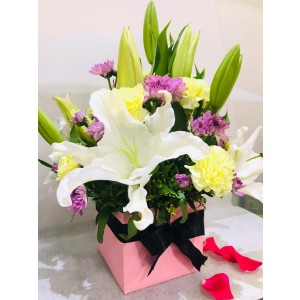 Lily, Carnations, Chrysanthemums - Mixed Bouquet