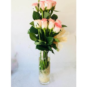 15 Pink Roses Bouquet with Vase