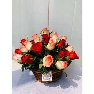 Eternal Loyalty - Bi Colour Roses Basket Bouquet