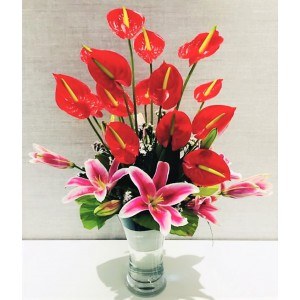 Oriental Lily Arrangement with Vase