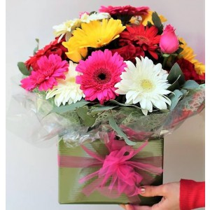 Box Bouquet with Mix Gerbera's and Mix Roses