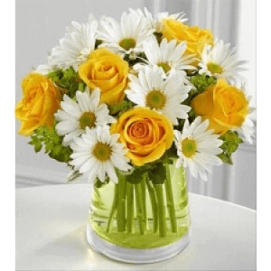 Yellow Bloom - Yellow Roses, White Chrysanthemum, Greenery