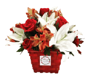 red rose and lilies basket arrangement