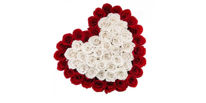 Red and White heart shape box