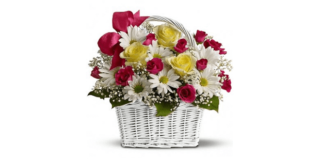 Yellow and pink rose arrangemet