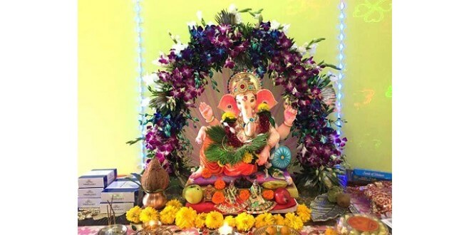 Flower decoration for Ganesh Chaturthi