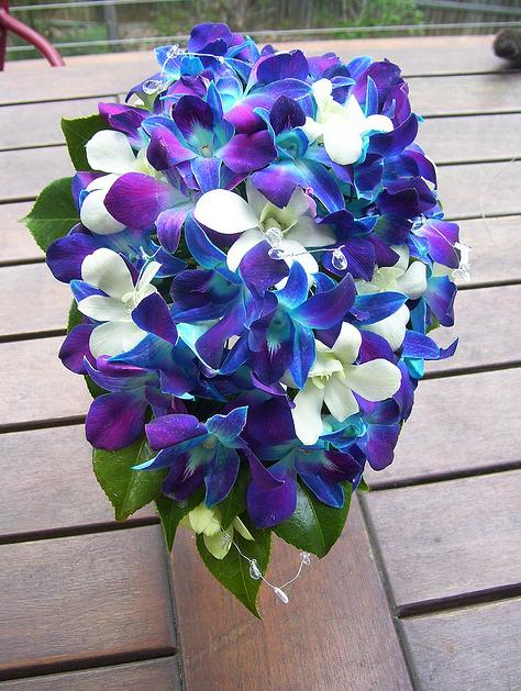 blue purple white orchid bouquet