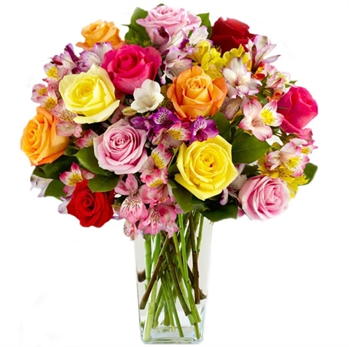 multi colored flowers in vase