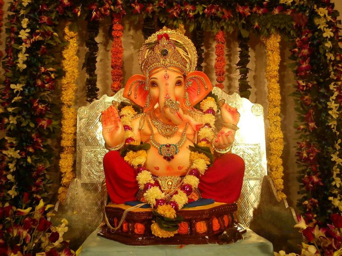 Ganapati Decoration with Flowers
