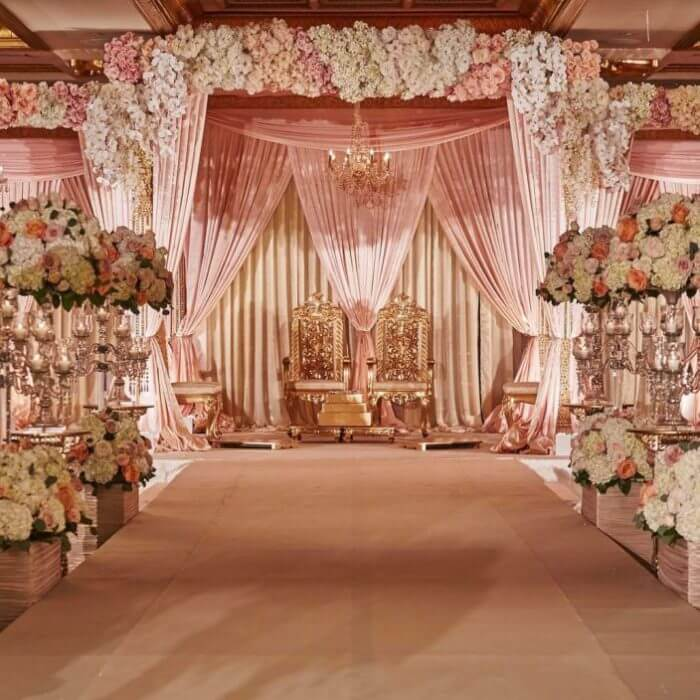 Pastel pink drape and flower decoration dome