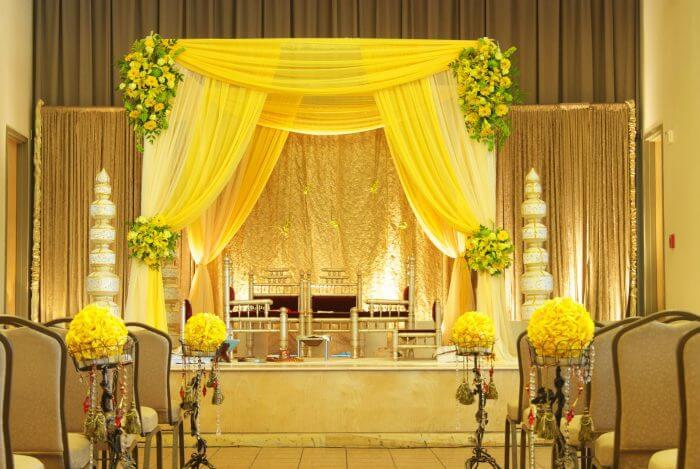 Classic White Drape decor with multi-colour blossoms
